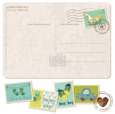 Illustration for Baby Boy Arrival Postcard with set of stamps - Royalty Free Image