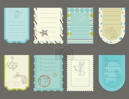 Illustration pour Éléments de conception pour l'album de bébé - tags mignons avec des animaux - image libre de droit