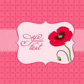 Greeting card with poppy flower - for scrapbook invitation celebration with place for your text