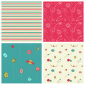 Set of 4 seamless backgrounds - Sewing kit design elements for s