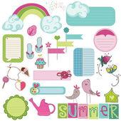 Letní návrhové prvky pro scrapbook, karta, Pozvánka