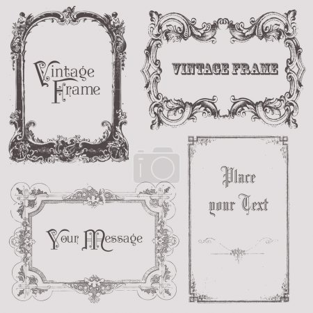 Illustration pour Cadres vintage et éléments de design - avec place pour votre texte - image libre de droit