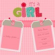 Baby Girl Arrival Card with Photo Frame in vector...