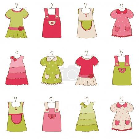 Illustration pour Collection de robe de bébé fille - image libre de droit