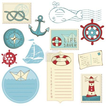 Illustration pour Scrapbook Sea elements - image libre de droit