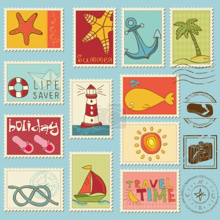 Sea elements - Vector stamp collection
