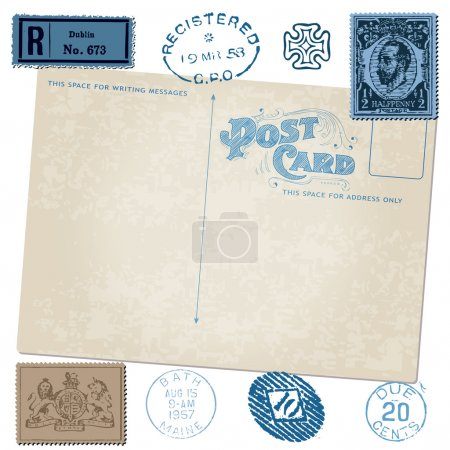 Illustration for Antique postcard in vector with Postal stamps - Royalty Free Image