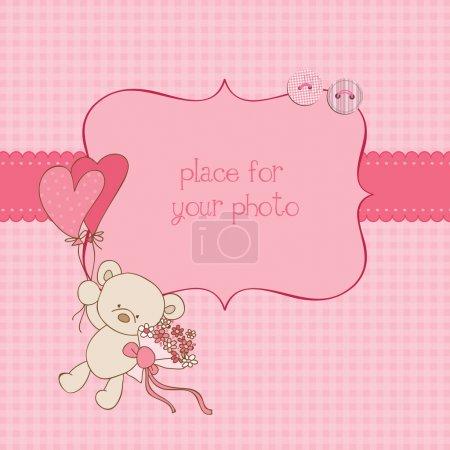 Illustration pour Carte de voeux de bébé avec cadre photo et placez votre texte dans le vecteur - image libre de droit