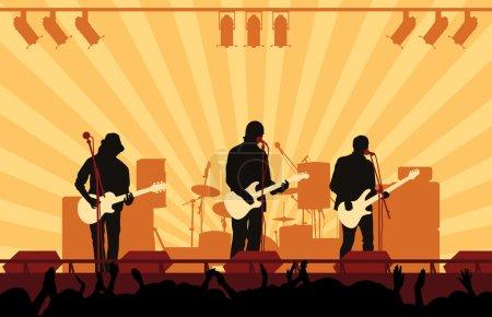 Illustration pour Sur une scène chanter et jouer de la guitare - image libre de droit
