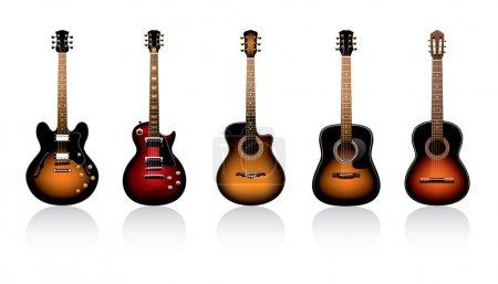 Group of beautiful guitars