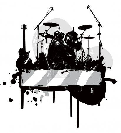 Illustration for Banner is decorated musical instruments and design elements - Royalty Free Image