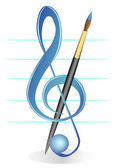 Illustration of a treble clef and brush against five lines