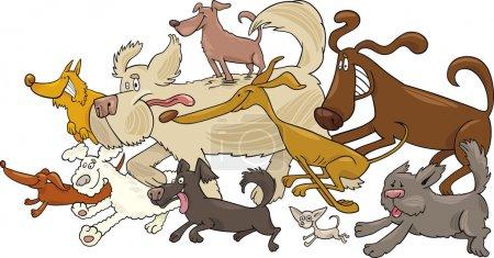 Cartoon illustration of running dogs...