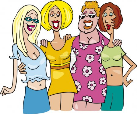 Illustration for Cartoon illustration of four women on meeting - Royalty Free Image