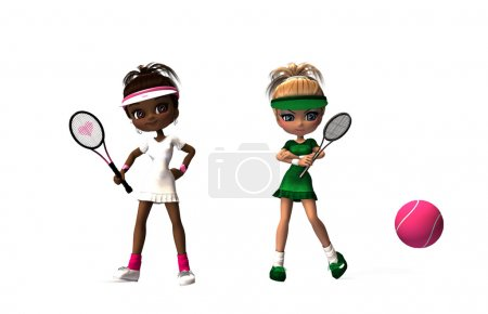 Tennis cartoon girls