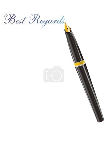Fountain pen with the golden nib