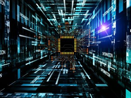 Foto de Interacción de circuito digital, textura técnico y gráficos de redacción sobre el tema de electrónica, informática, comunicaciones y tecnologías modernas. - Imagen libre de derechos