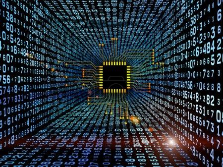 Foto de Interacción de circuito digital y números gráficos sobre el tema de electrónica, informática, comunicaciones y tecnologías modernas. - Imagen libre de derechos