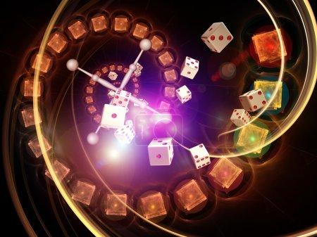 Photo pour Interaction des dés, des éléments de roulette et des graphismes abstraits sur le hasard, la chance, le casino, les jeux et le risque - image libre de droit