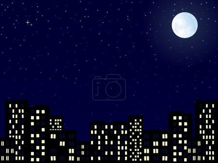 Photo pour Paysage nocturne de la ville de construction avec lune - image libre de droit