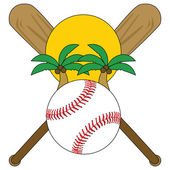 Illustration of a baseball in front of a setting sun and palm trees with baseball bats in the background to symbolize spring training season