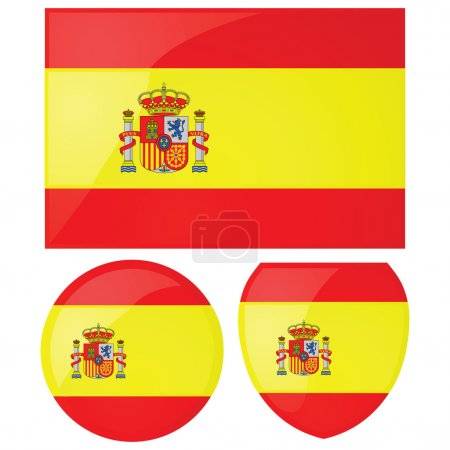 Illustration for Illustration of the Spanish flag, alongside a round and shield emblems - Royalty Free Image
