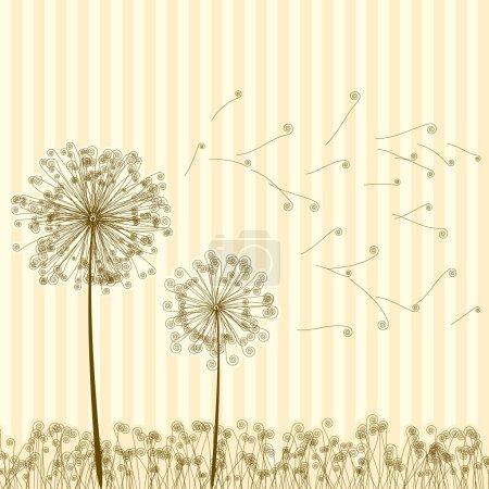 Vintage two dandelions in wind. EPS8