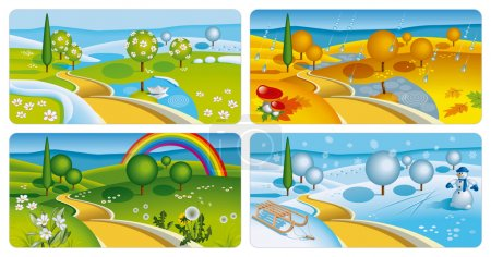 Illustration for Set of four seasons banners. Vector Illustration (EPS v. 10) - Royalty Free Image