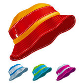 Set of colored panama hats Vector Illustration