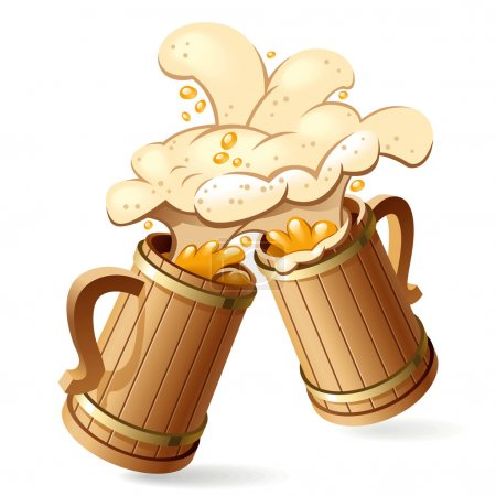Illustration for Two wooden beer mugs with foam splash. Vector Illustration - Royalty Free Image