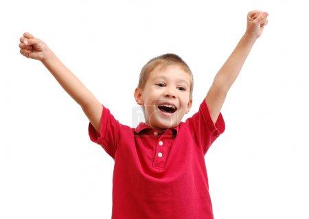 Portrait of happy child isolated on white background