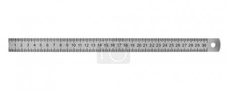 Metal ruler 30 cm isolated on white background