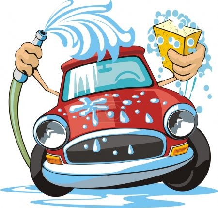 Photo for Car washing sign with sponge and hose - Royalty Free Image