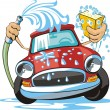 Car washing sign with sponge and hose...