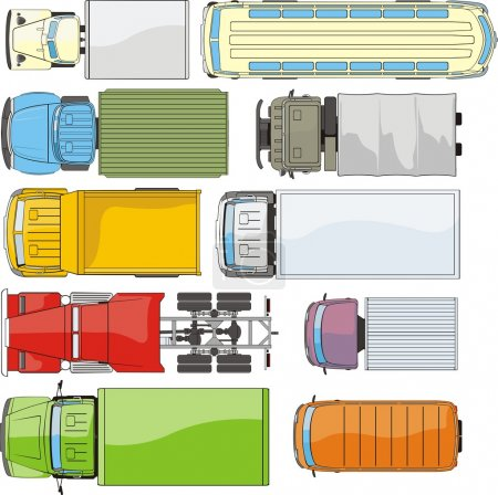 Illustration for Many cargo cars overhand view - Royalty Free Image