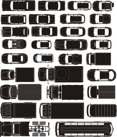 Illustration for Cargo and passenger cars overhand view silhouettes - Royalty Free Image