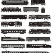Cargo and passenger train silhouettes...