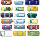 Cargo and passenger cars overhand view set