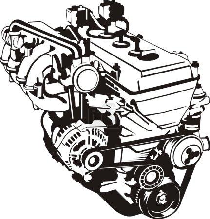 Illustration pour Moteur de silhouette frontale à combustion interne - image libre de droit