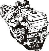 Engine of internal combustion frontal silhouette