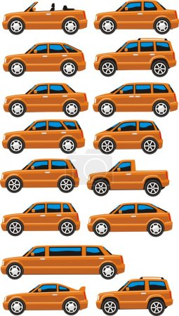 Illustration pour Ensemble de voitures dans de nombreuses garnitures - image libre de droit