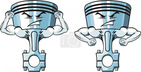Illustration for Two cartoon very stronger pistons - Royalty Free Image