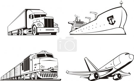 Illustration for Transportation cargo by all means of transport - Royalty Free Image