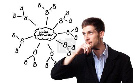 Man analysing social network schema on the whiteboard