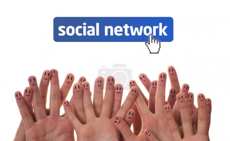 Photo for Happy group of finger faces as social network - Royalty Free Image