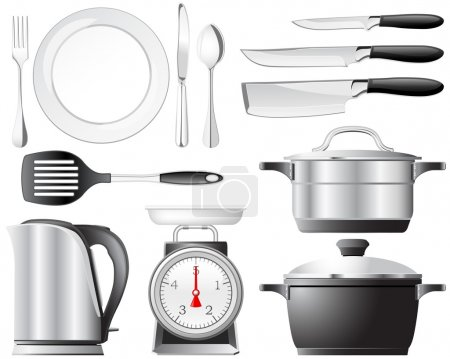 Illustration for Kitchenware pots, knives, and other utensils used in the kitchen - Royalty Free Image