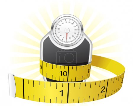 Illustration for Dieting concept - weights wrapped with tape measure - Royalty Free Image