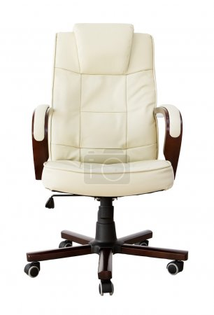 Beige leather office chair with clipping path