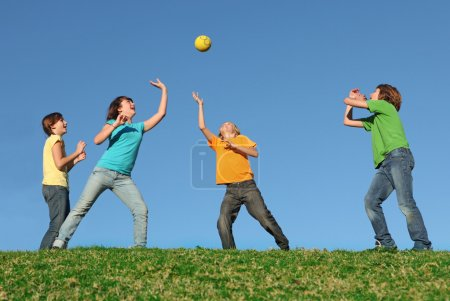 Photo for Active kids playing ball at summer camp - Royalty Free Image