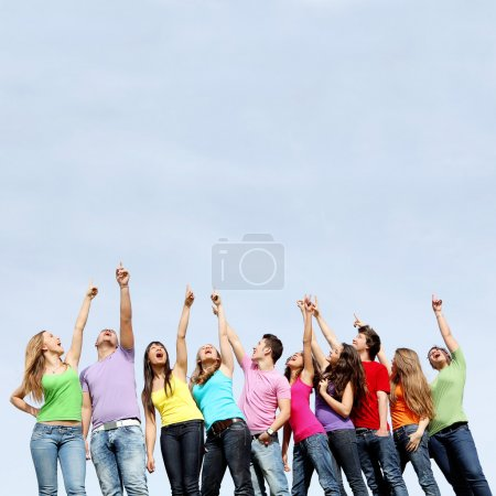 Group of teens pointing